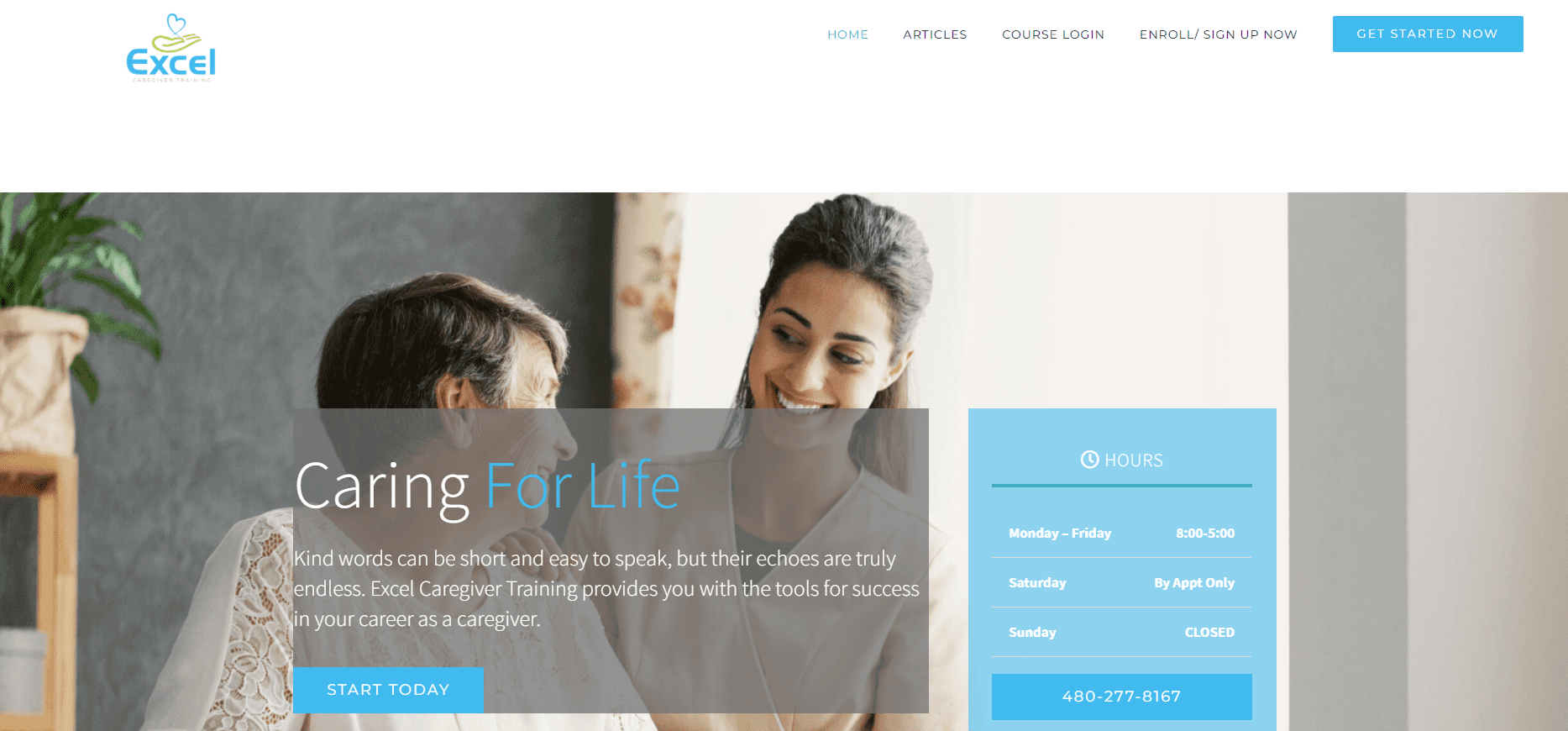 excel caregiver training homepage screenshot